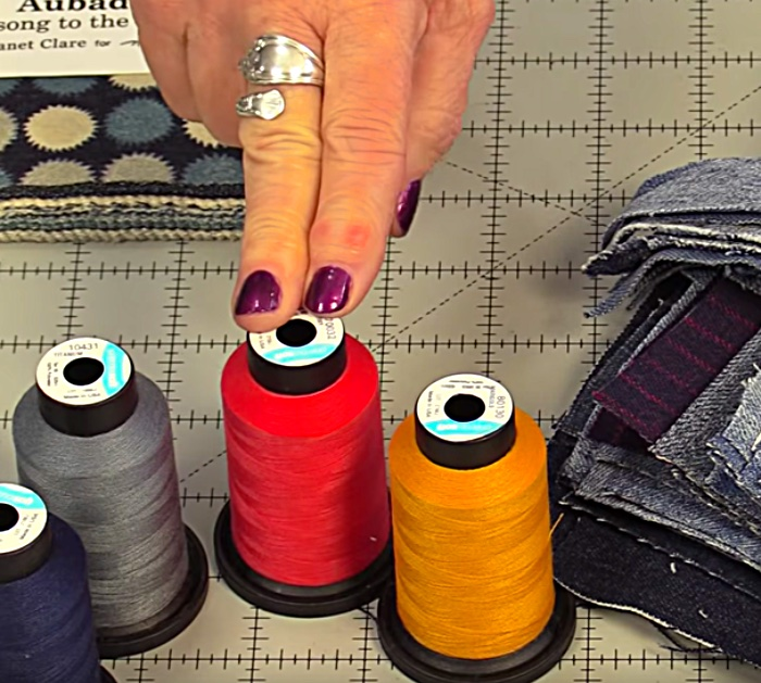 Learn to make an Upcycled Recycled Denim Quilt from old jeans and a cotton flannel sheet