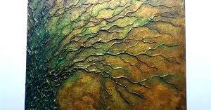 Canvas Painting Idea : Glue Gun Tree Art