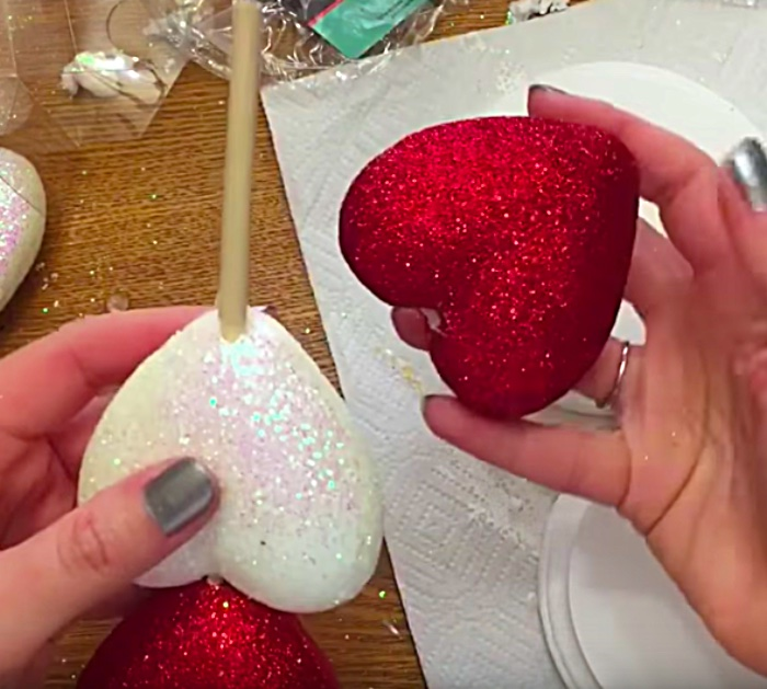 Learn to make a DIY Glitter Heart Candle Holder for a Valentine's Day Decoration
