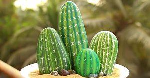 DIY Painted Pebble Cactus