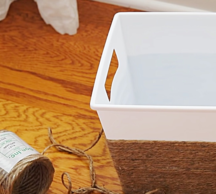 Try a new storage idea by  make an easy quick cheap DIY storage basket with Dollar Tree Items