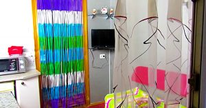 DIY Beaded Curtain From Plastic Drinking Straws