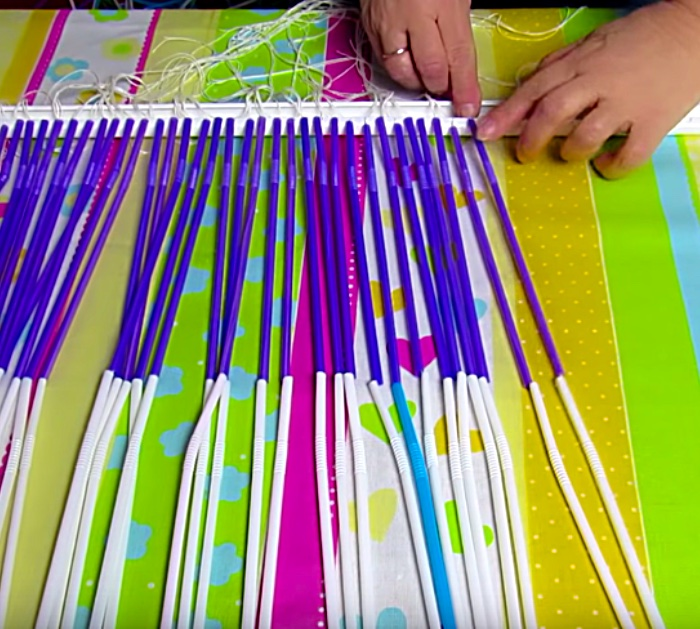Try making a DIY recycled curtain out of plastic straws