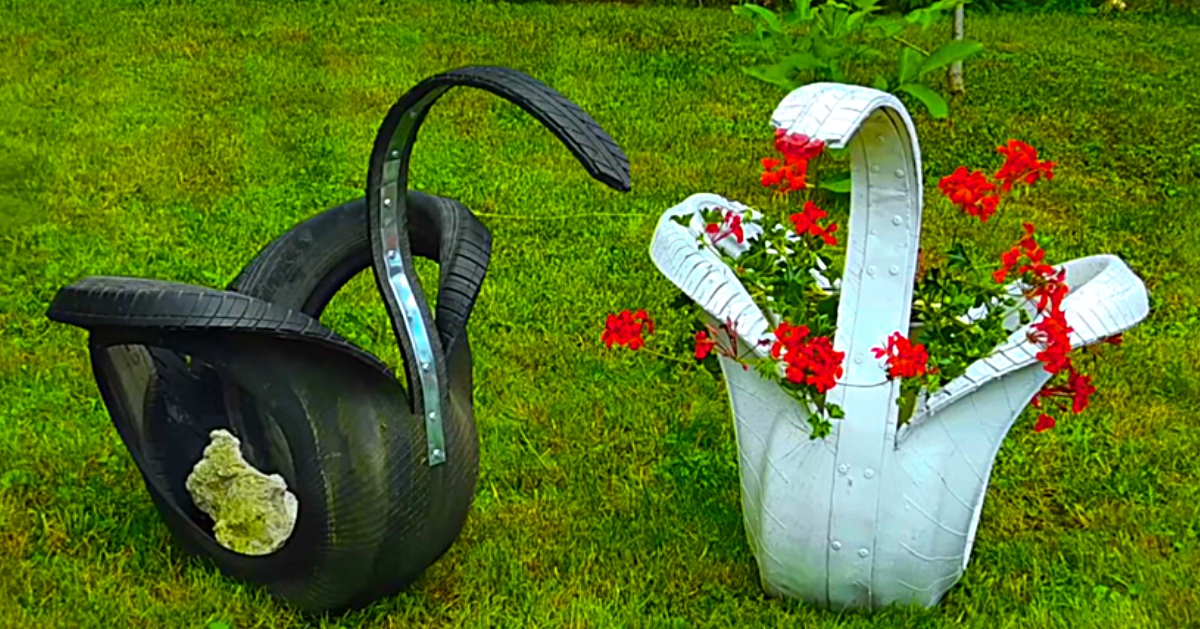 Learn to make DIY Swan Planters from recycled old tires