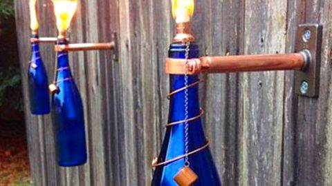 Make DIY Tiki Torches From Wine Bottles   DIY Joy Projects and Crafts Ideas