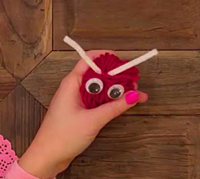 Cute fun easy DIY Yarn Love Bug Pom Poms
