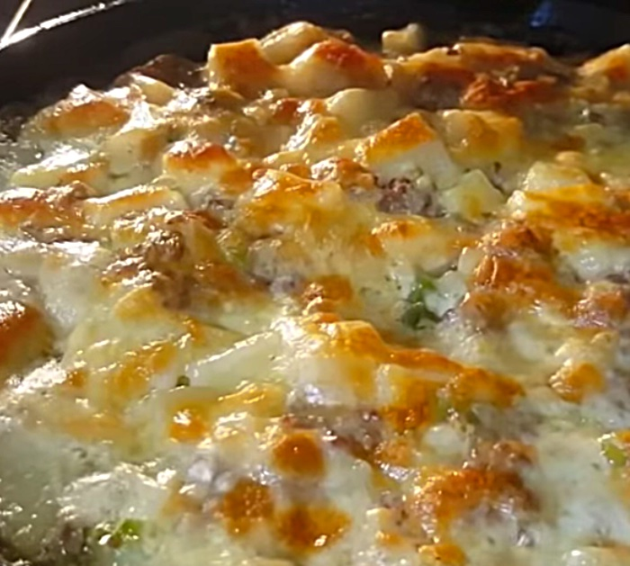 Make a one hundred year old casserole in a cast iron skillet