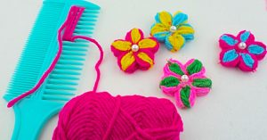 Make A Yarn Flower Using A Comb