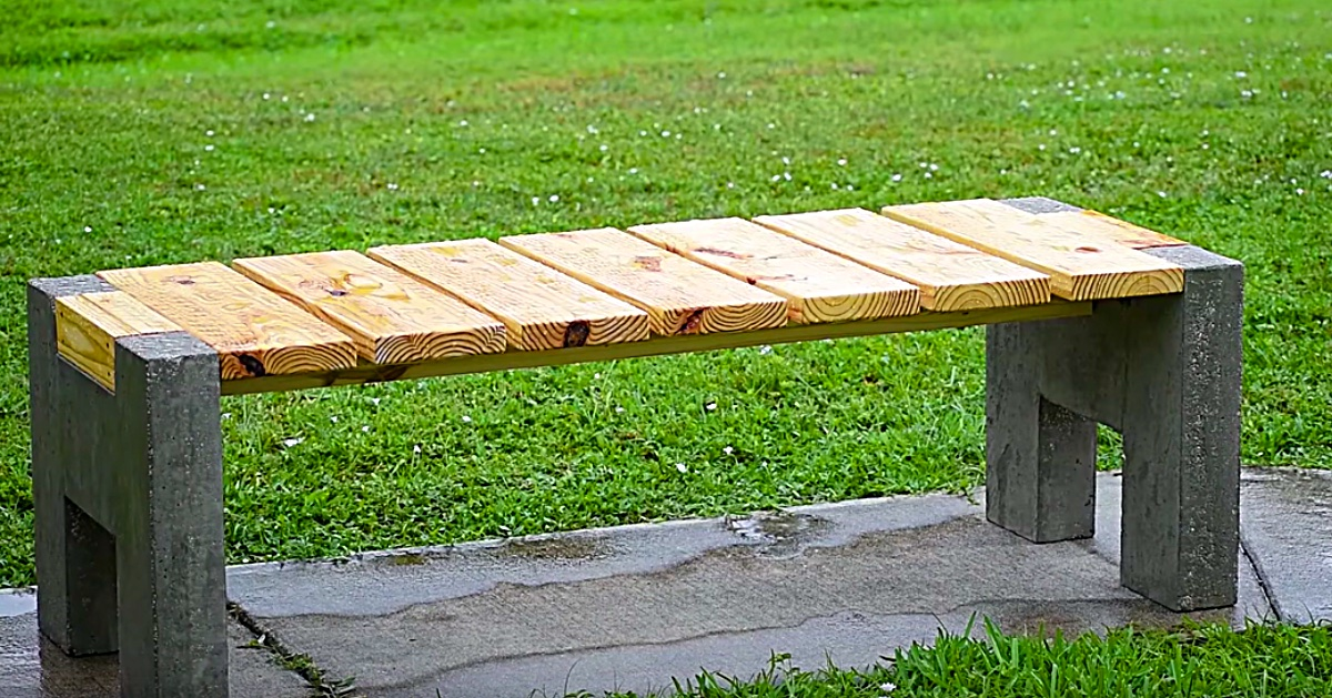 Diy Modern Concrete And Wood Outdoor Bench