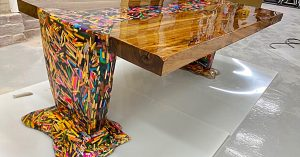Thousands Of Floating Pencils Make Up This DIY Table
