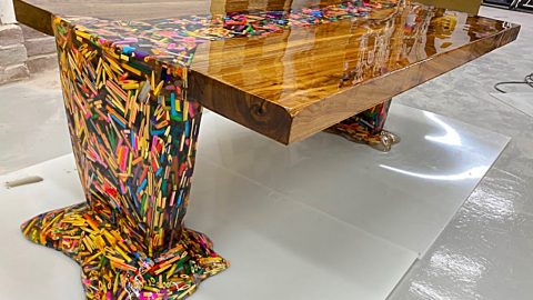 Thousands Of Floating Pencils Make Up This DIY Table | DIY Joy Projects and Crafts Ideas