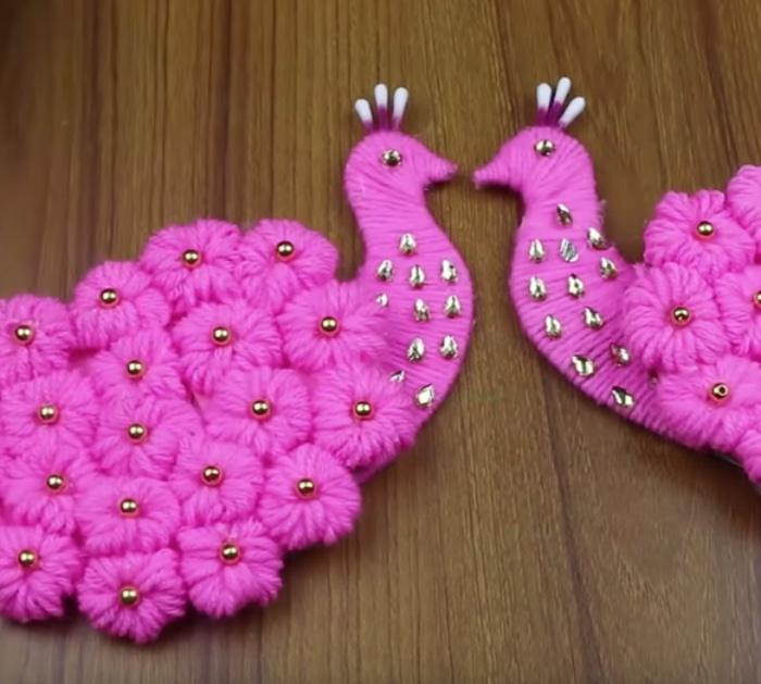 Make a DIY Peacock Yarn Vase