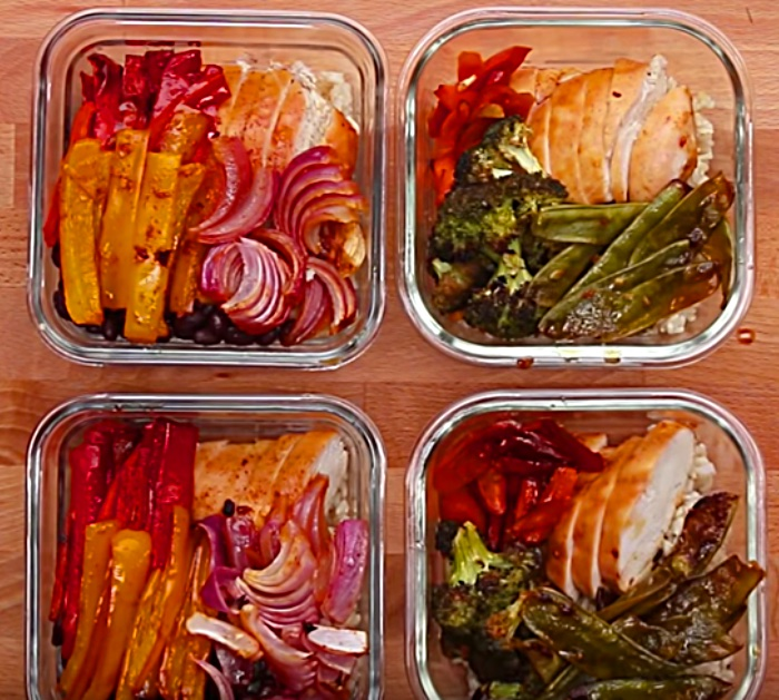 Make a sheet pan meal prep of chicken teriyaki or Chipotle Lime Sauce Homemade