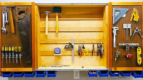 DIY Sliding Door Tool Cabinet   DIY Joy Projects and Crafts Ideas
