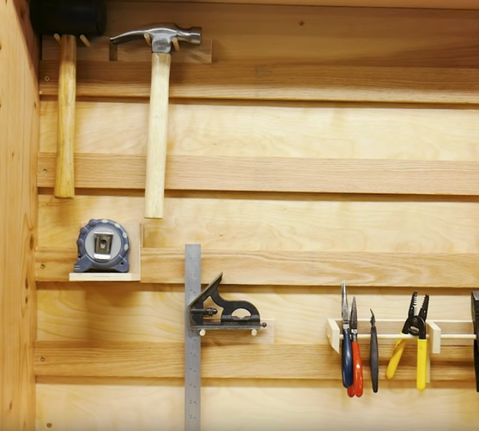 Make a DIY sliding door tool cabinet with pegboard