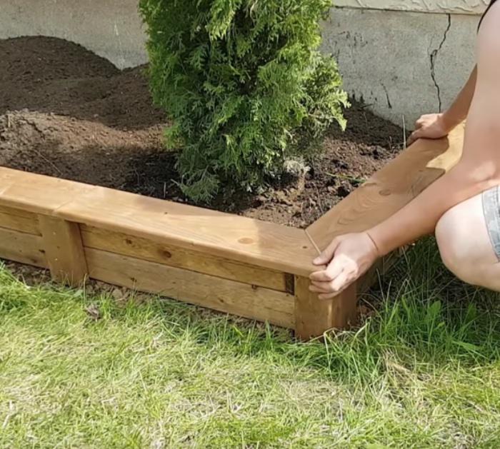 Make a DIY easy cheap garden bed edge anyone can do