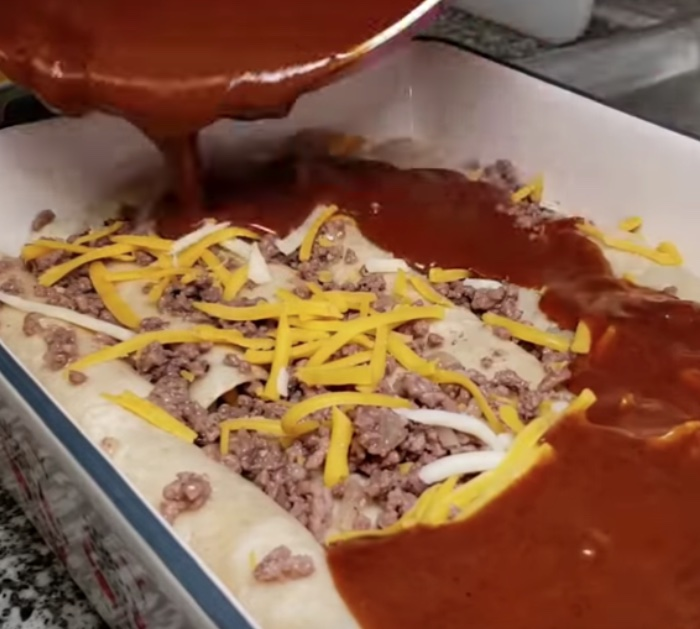 Make these easy Tex Mex cheese and beef enchiladas