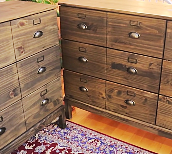 Make a $6000 Apothecary dresser out of two IKEA Dressers