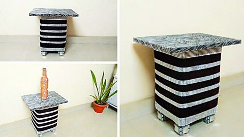 DIY Side Table From Cardboard And Plastic Bottles | DIY Joy Projects and Crafts Ideas