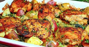 Creamy Garlic Butter Chicken And Potatoes Recipe