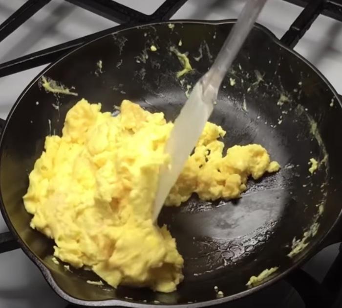 No stick scrambled eggs in cast iron.