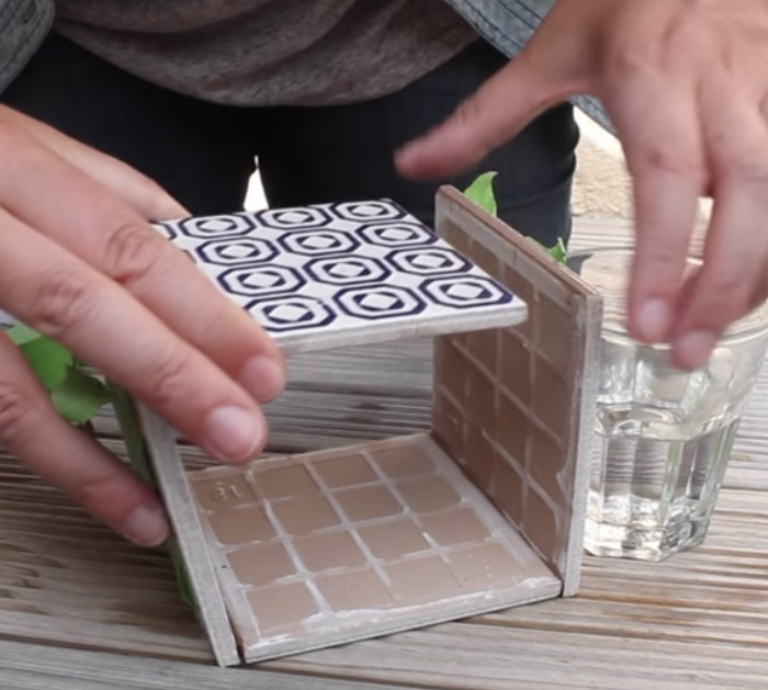 Make a planter out of 5 leftover tiles