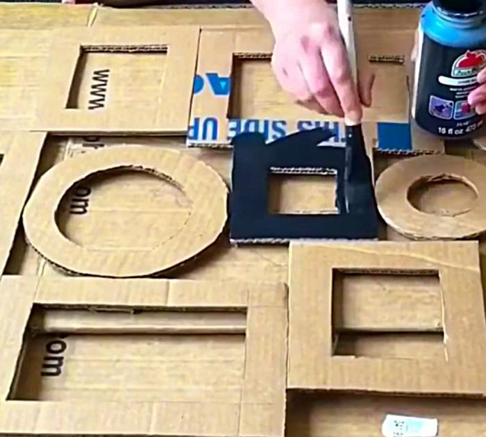 Make a foil wall art light with cardboard