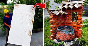 DIY Garden Waterfall From Styrofoam