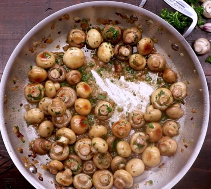 Make buttery garlic mushrooms to eat with a rib eye steak