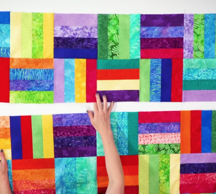 Make a cheap, easy quick quilt using jelly rolls