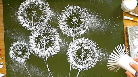 How To Paint Dandelions With Empty Toilet Paper Rolls | DIY Joy Projects and Crafts Ideas