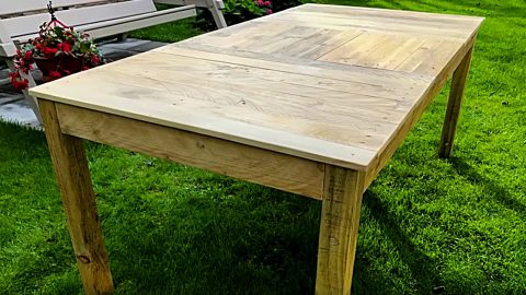 How To Make A Farmhouse Table Out Of Pallets   DIY Joy Projects and Crafts Ideas