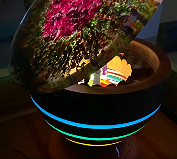 Coolest project ever an epoxy resin flower table that has a pop up top and turns into a bar