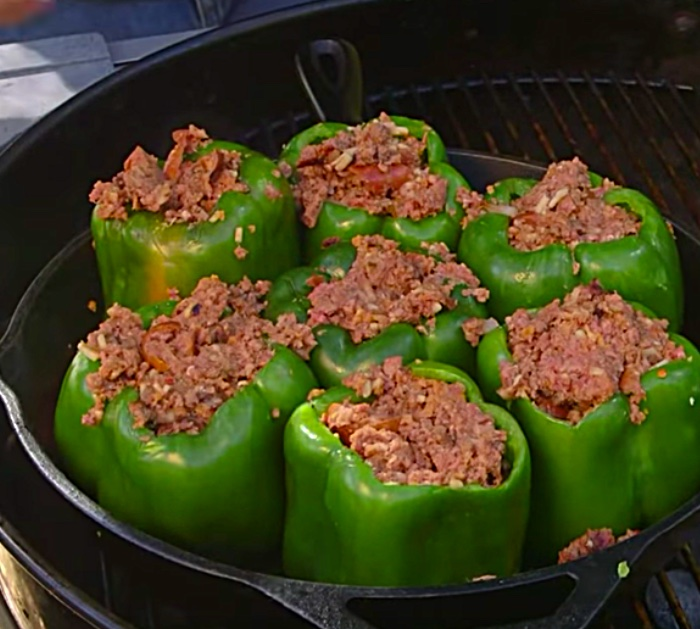 Make smoky stuffed peppers with sausage