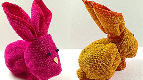 How To Make An Easter Bunny From A Washcloth | DIY Joy Projects and Crafts Ideas