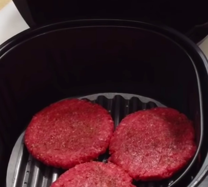 Delicious hamburgers made in an air fryer