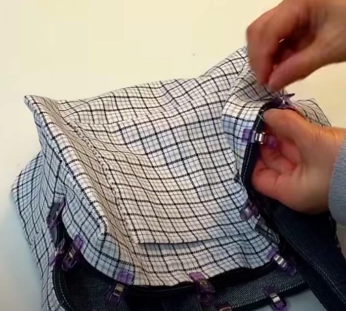 Make a denim bag with a lining