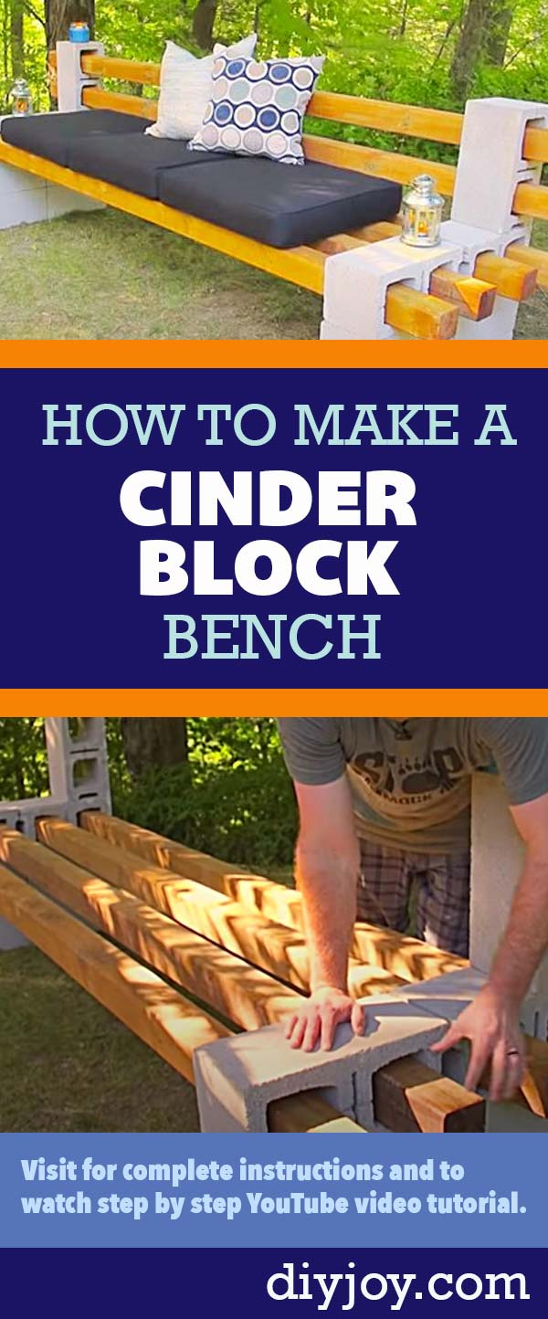 Cheap DIY Ideas for the Backyard - DYI How to Make a Cinder Block Bench - Inexpensive Home Improvement Ideas for the Outdoors and Yard, Patio, Porch - step by Step YouTube Tutorial Pin on Pinterest