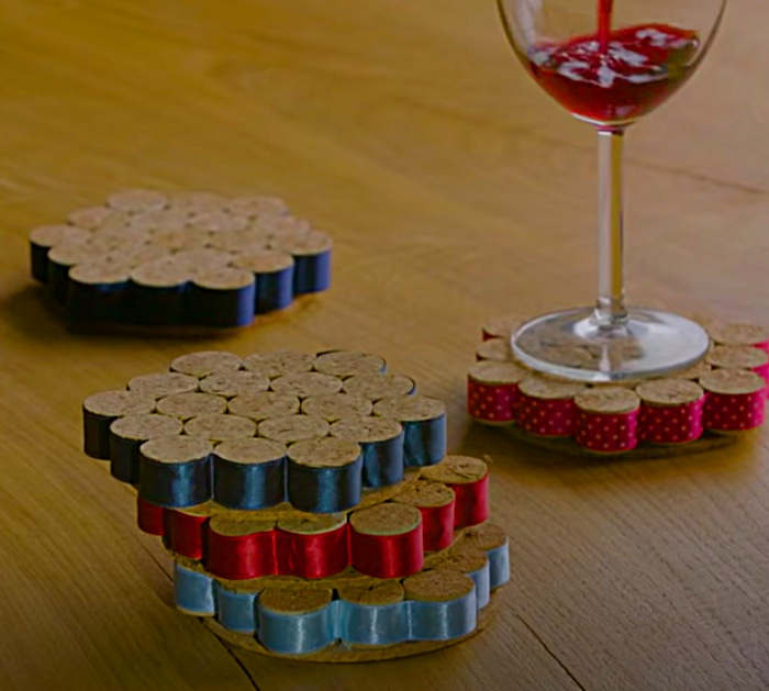 Make coasters from recycled cork and ribbon