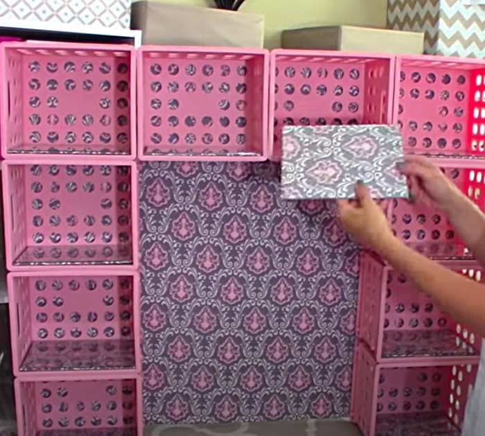Make a vanity hutch out of dollar crates from Walmart