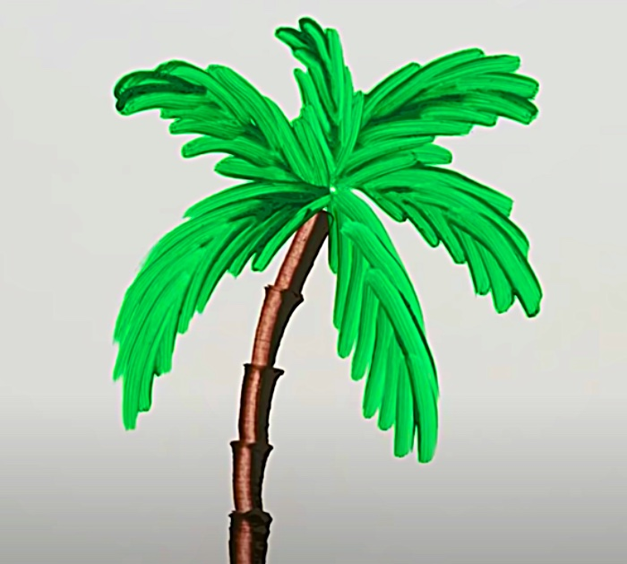 Learn to paint palm trees with a knife