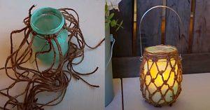 DIY Coastal Farmhouse Fishnet Mason Jar Candle Holder