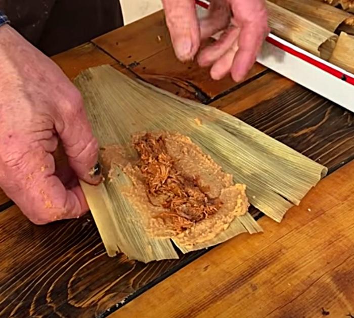 Assemble homemade pork tamales