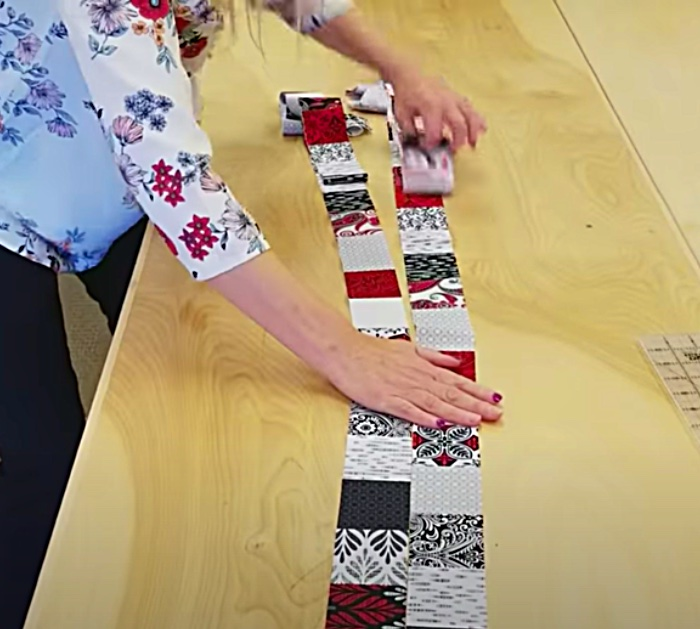 Use a layer cake packet to make a jagged x quilt with free pattern