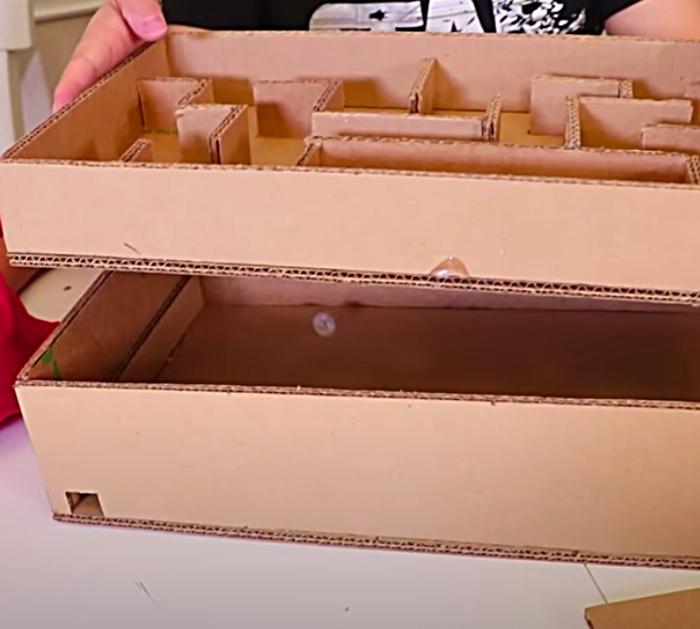 Make a DIY cardboard maze game