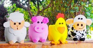 Plastic Bottle Farm Animal Planters