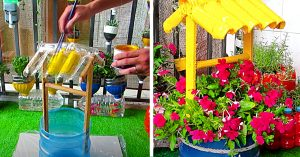 Turn A 5 Gallon Water Bottle Into A Wishing Well Planter