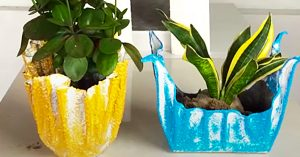 How To Make Flower Pots From Cement And Towels
