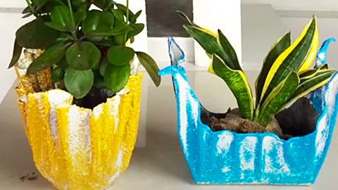 How To Make Flower Pots From Cement And Towels | DIY Joy Projects and Crafts Ideas