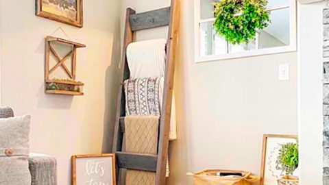 How To Make A $9 Farmhouse Blanket Ladder | DIY Joy Projects and Crafts Ideas